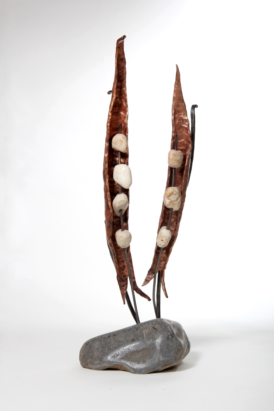 """Peas"" – peas sculpture from Iron, Pebbles & Copper"