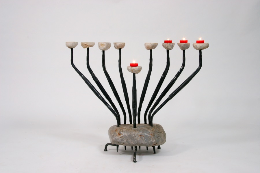 """Pebbles"" – Iron & Stone Hanucka menorah"