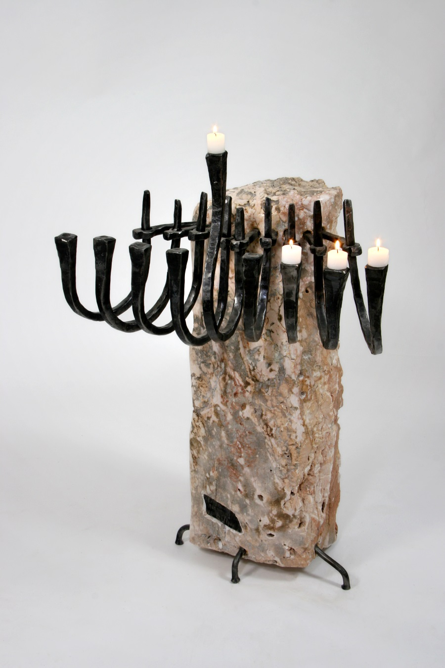 """Ribs"" – ribs-shaped Hanucka menorah from Iron & Jeruslaem Stone"