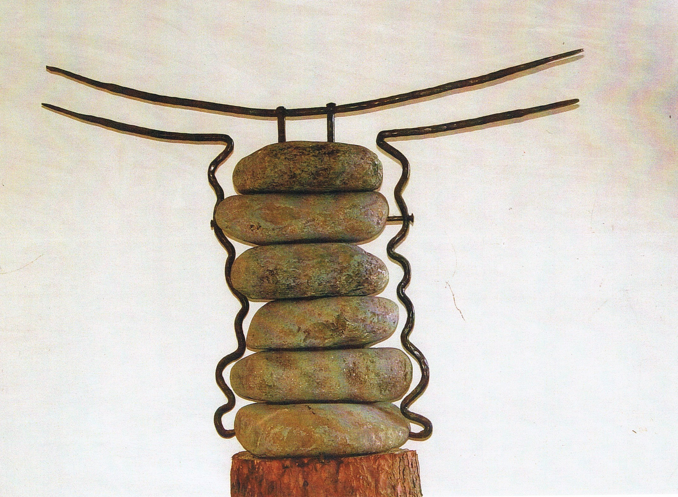 'Abstract' – Sculpture crafted of Forged Iron & River Stones