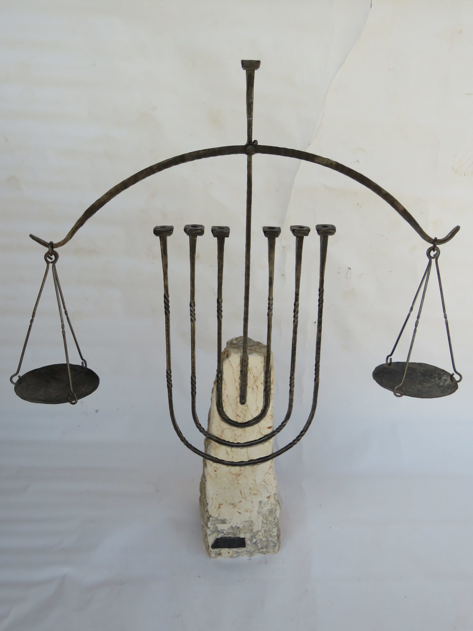 'The Menorah of Justice' - Large Menorah of Iron & Stone integrating the symbol of Justice
