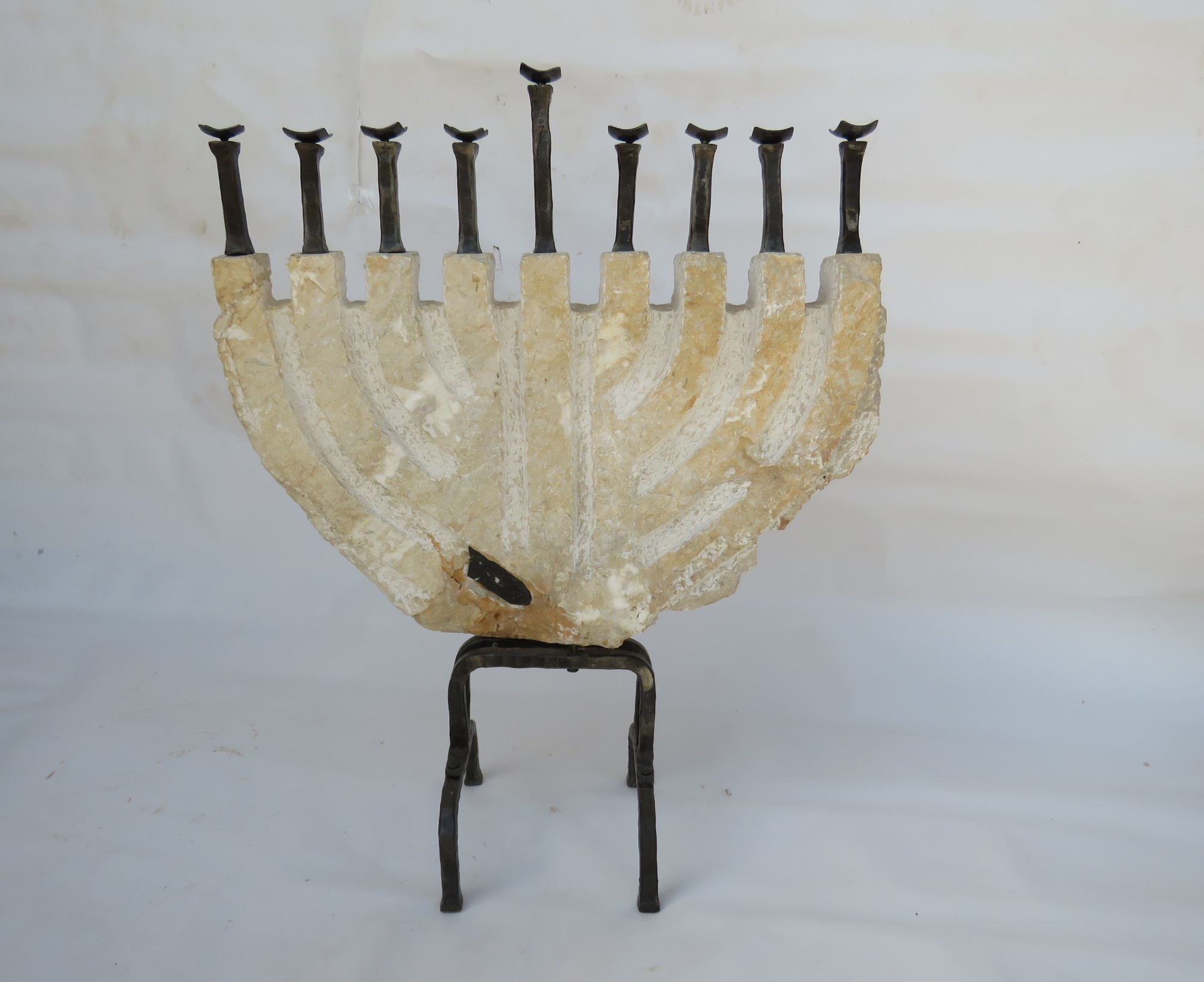 'Katzrin' – Large Hanukkah Menorah of Iron & Jerusalem Stone