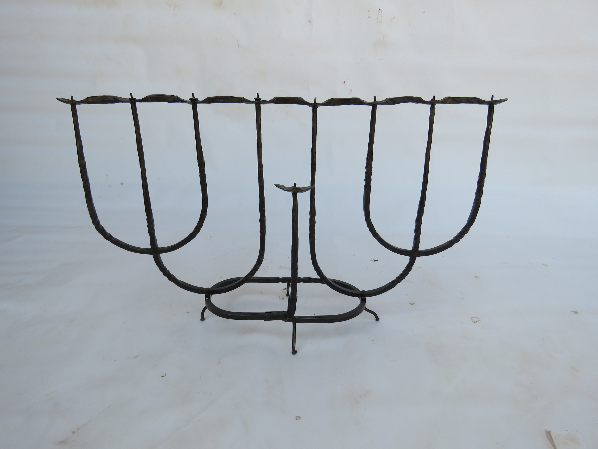 'Estush' - Iron Hanucka menorah in a gentle blacksmithing