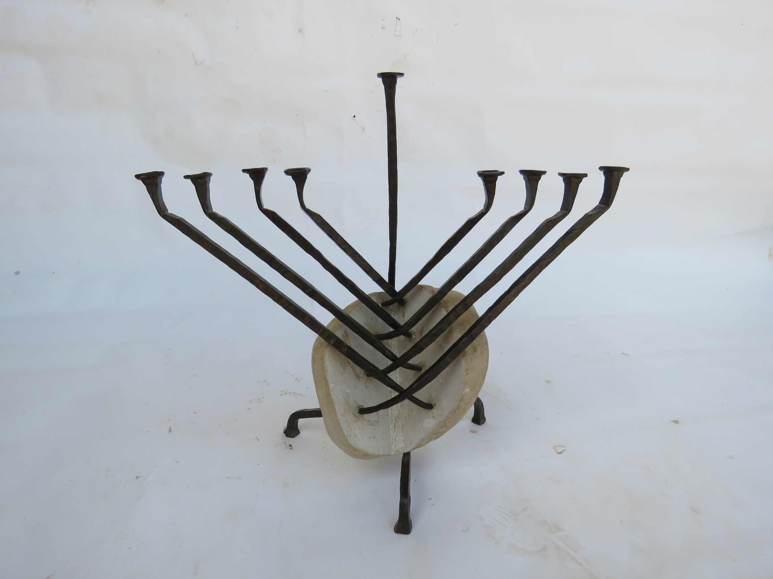 'Chabad' - Hannukah Menorah of Stone & Iron, crafted in the Chabad Tradition