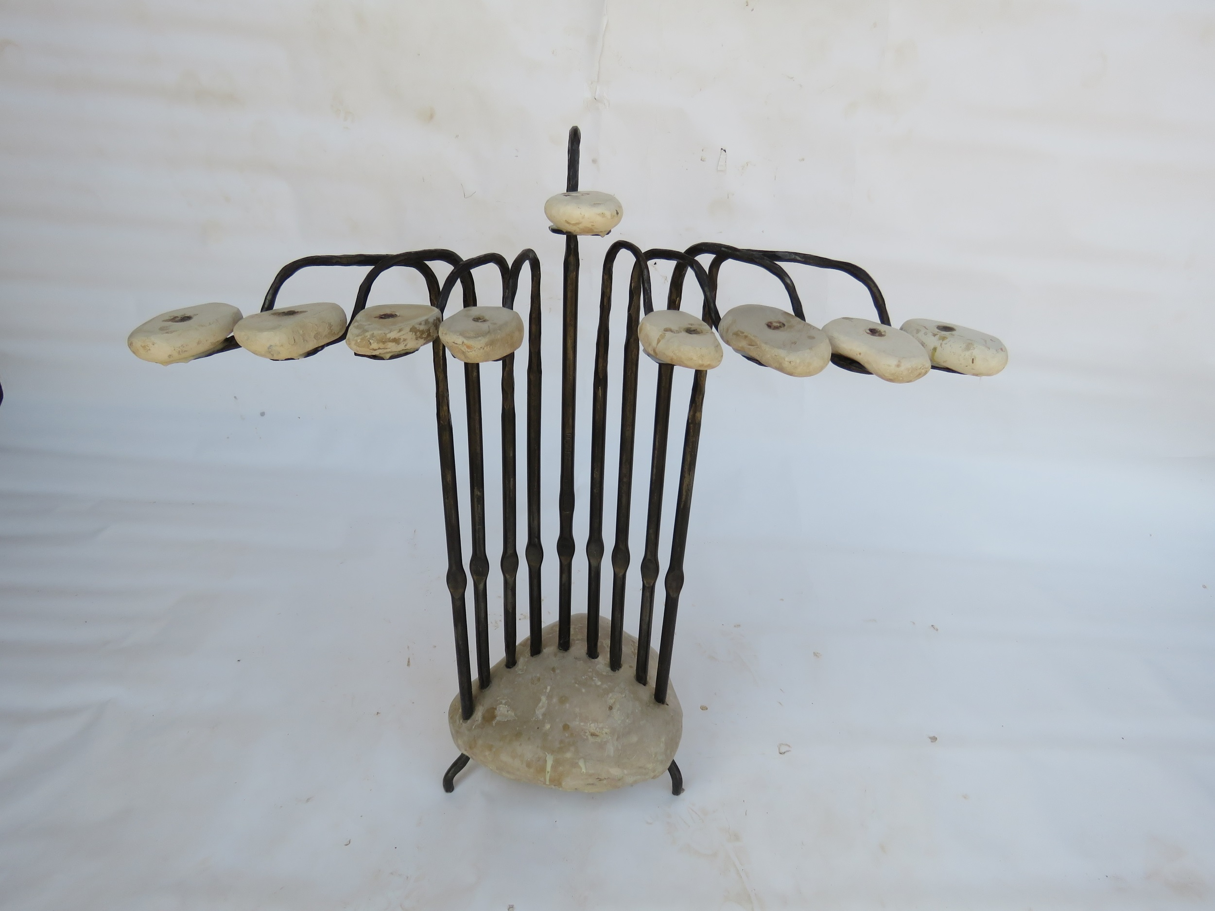 'Flamingo' - Flamingo-shaped Hanucka menorah of Iron & Stone