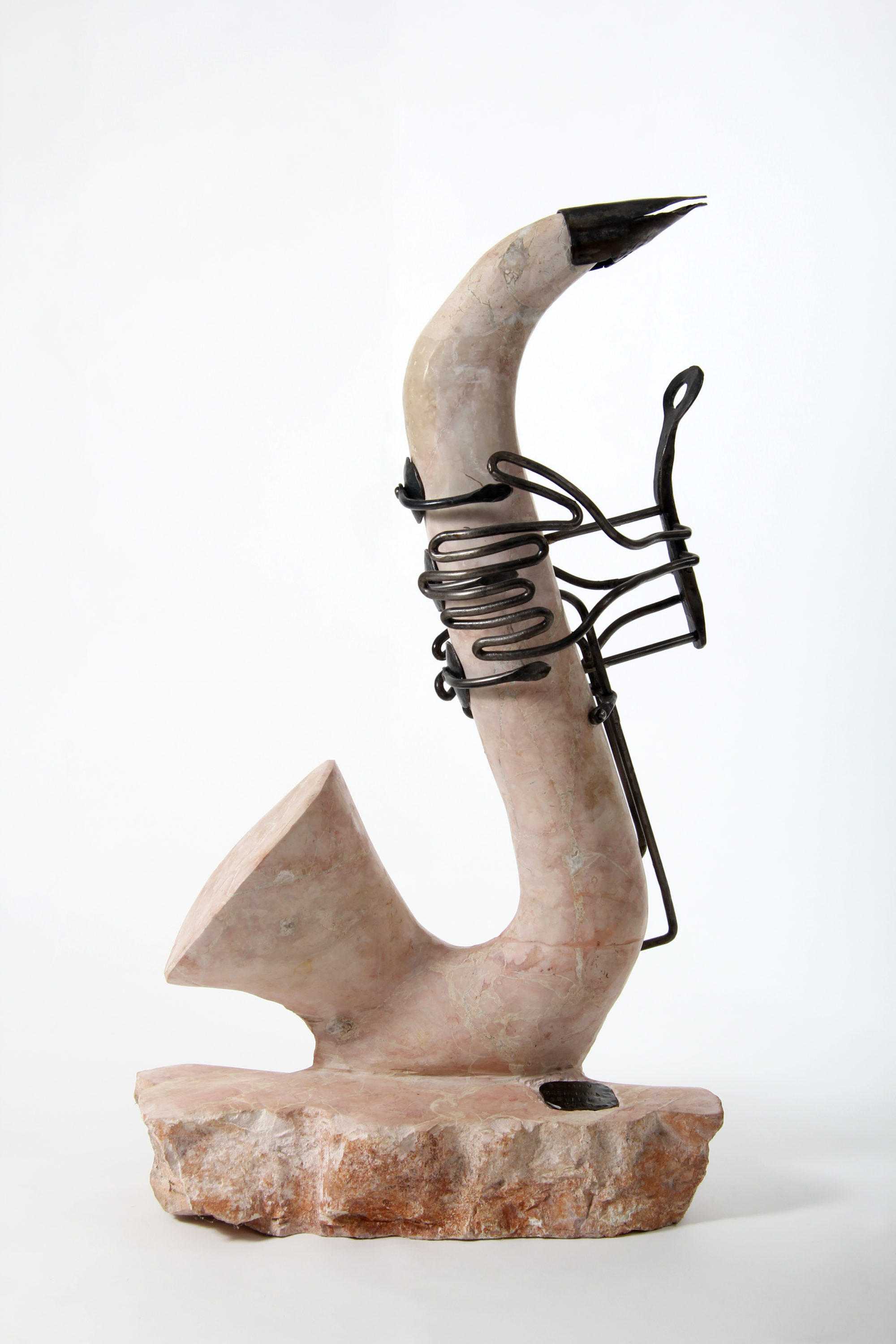 Saxophone Sculpture of Forged Iron & Red Marble