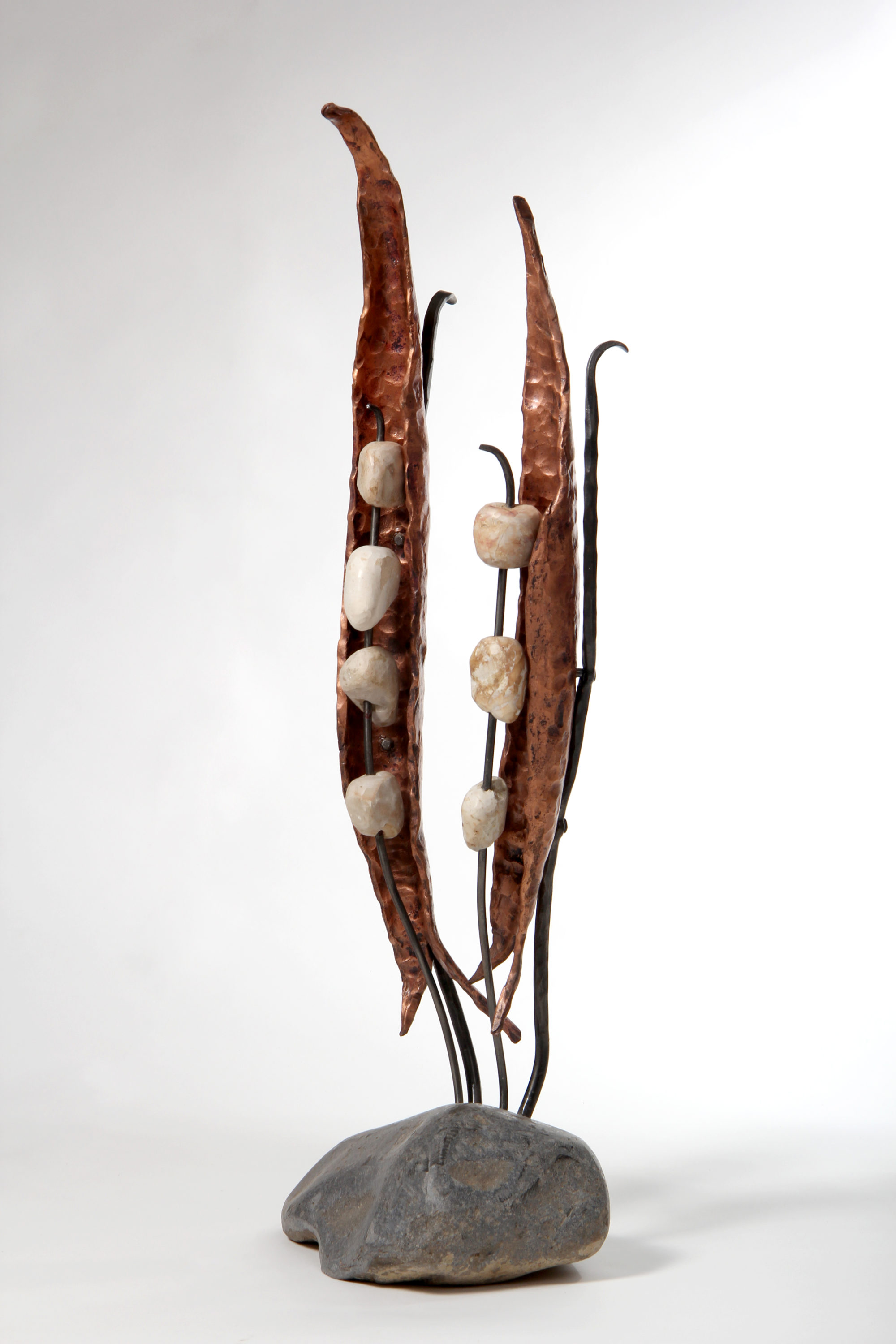'Peas' - A sculpture of Forged Iron, River Stones & Copper