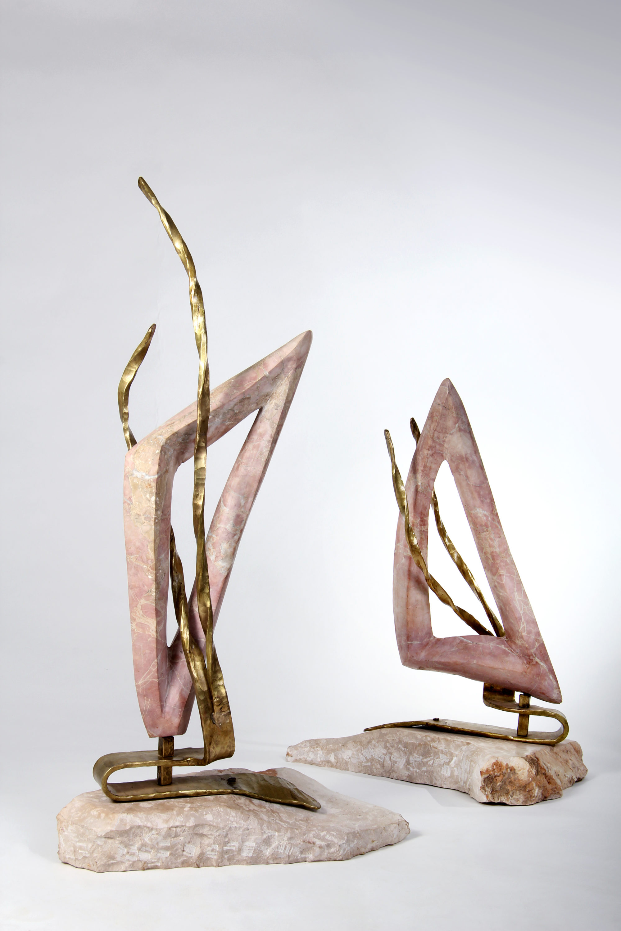 'Sail' - Two Sales of Bronze & Red Marble