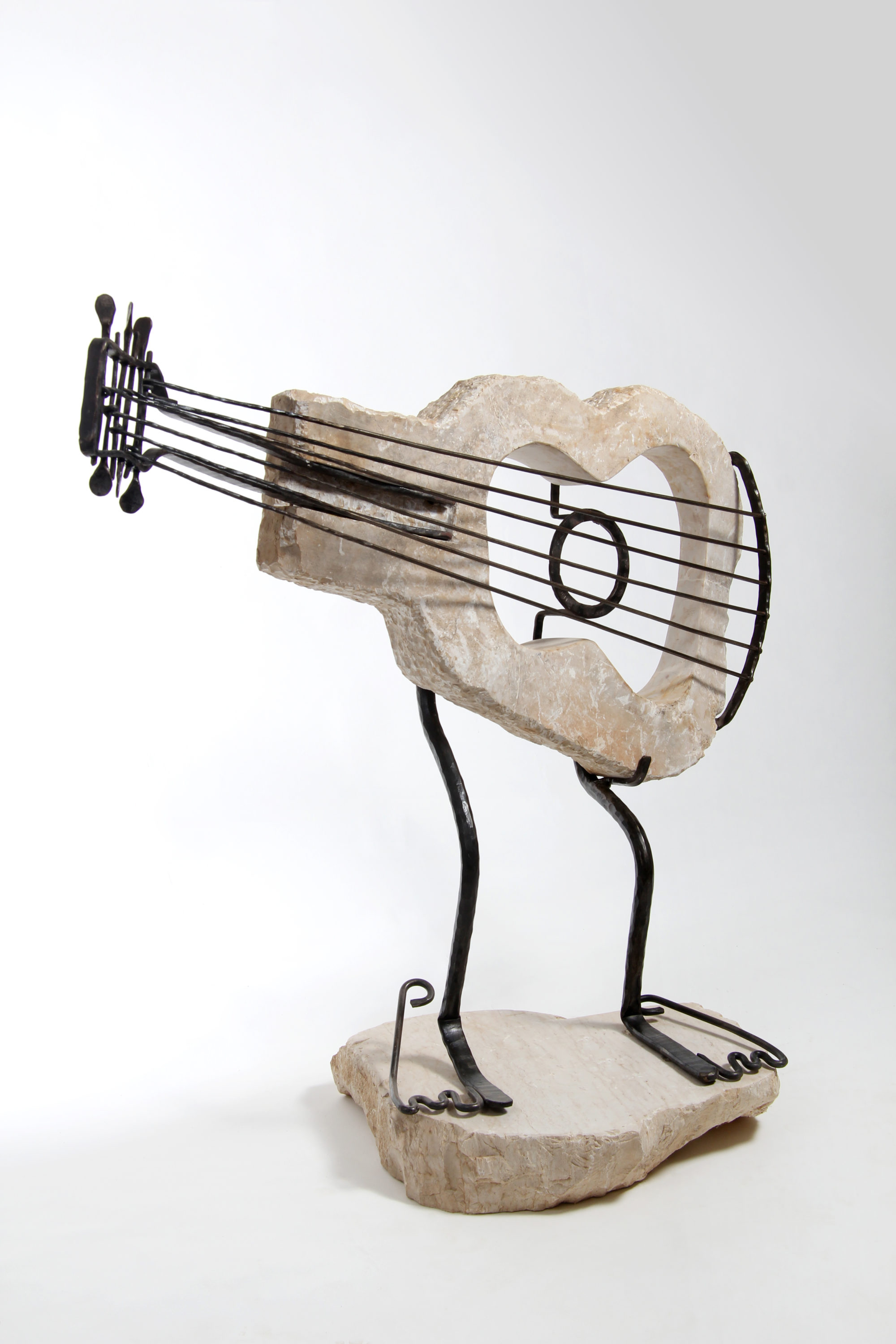 Guitar Sculpture of Jerusalem Stone and Forged Iron