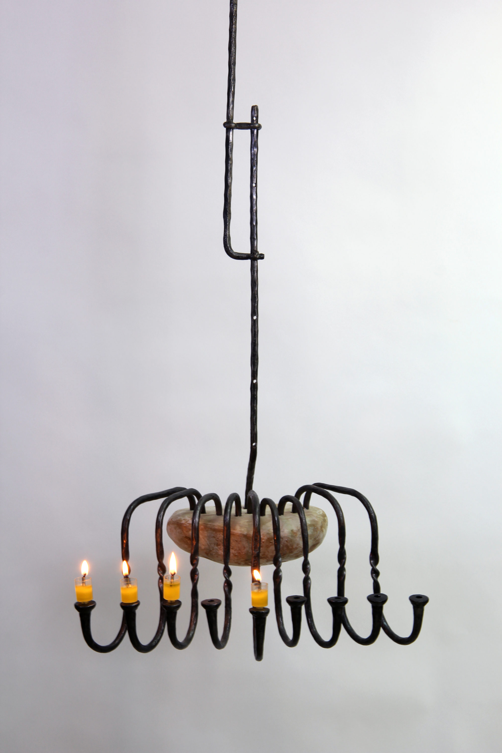 'Hanging Hanukah' - Large Hanging Hanucka Menorah of Iron & a large Pebble