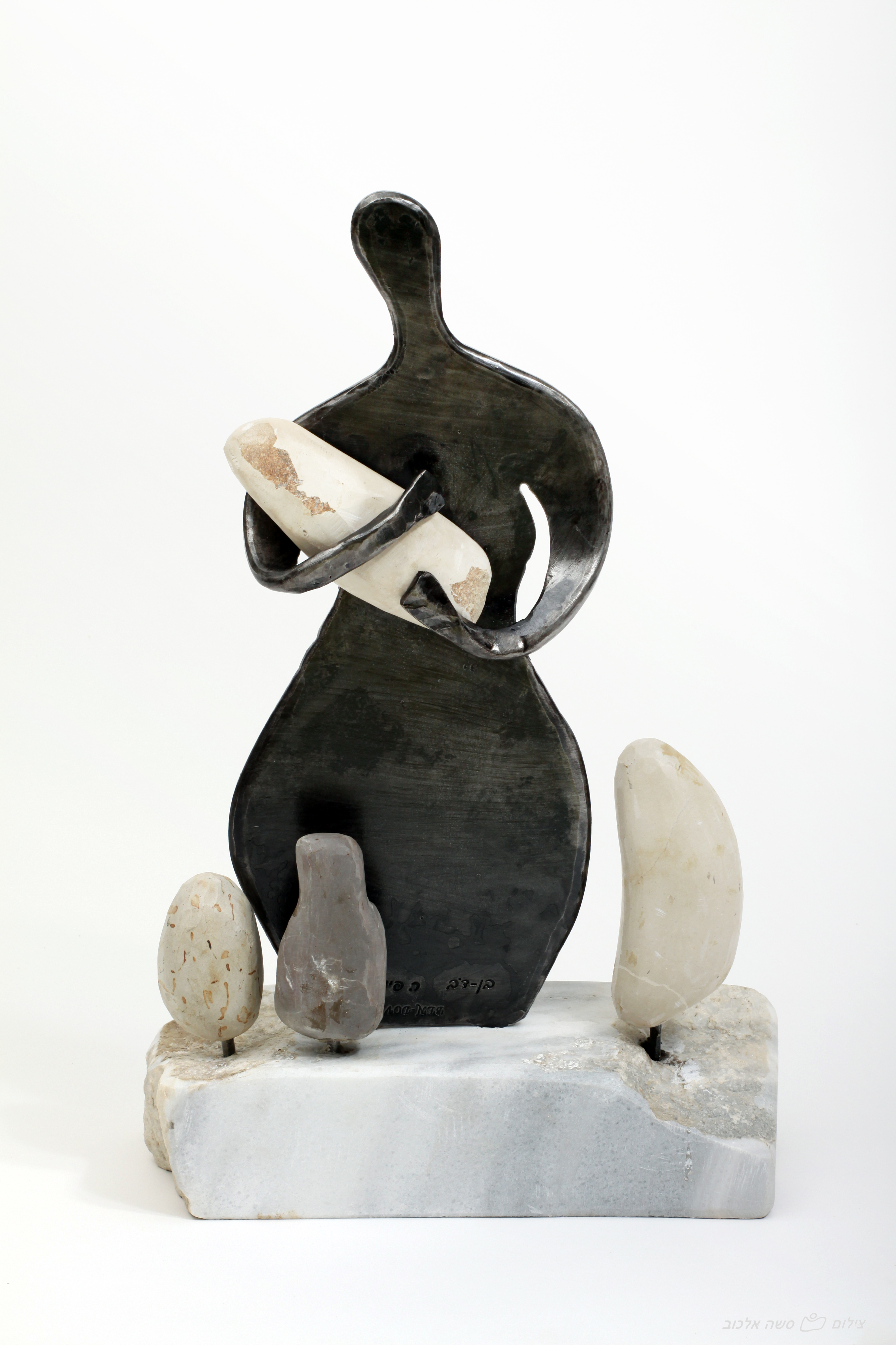 'Mother and son' - Sculpture Crafted of Forged Iron and River Stones