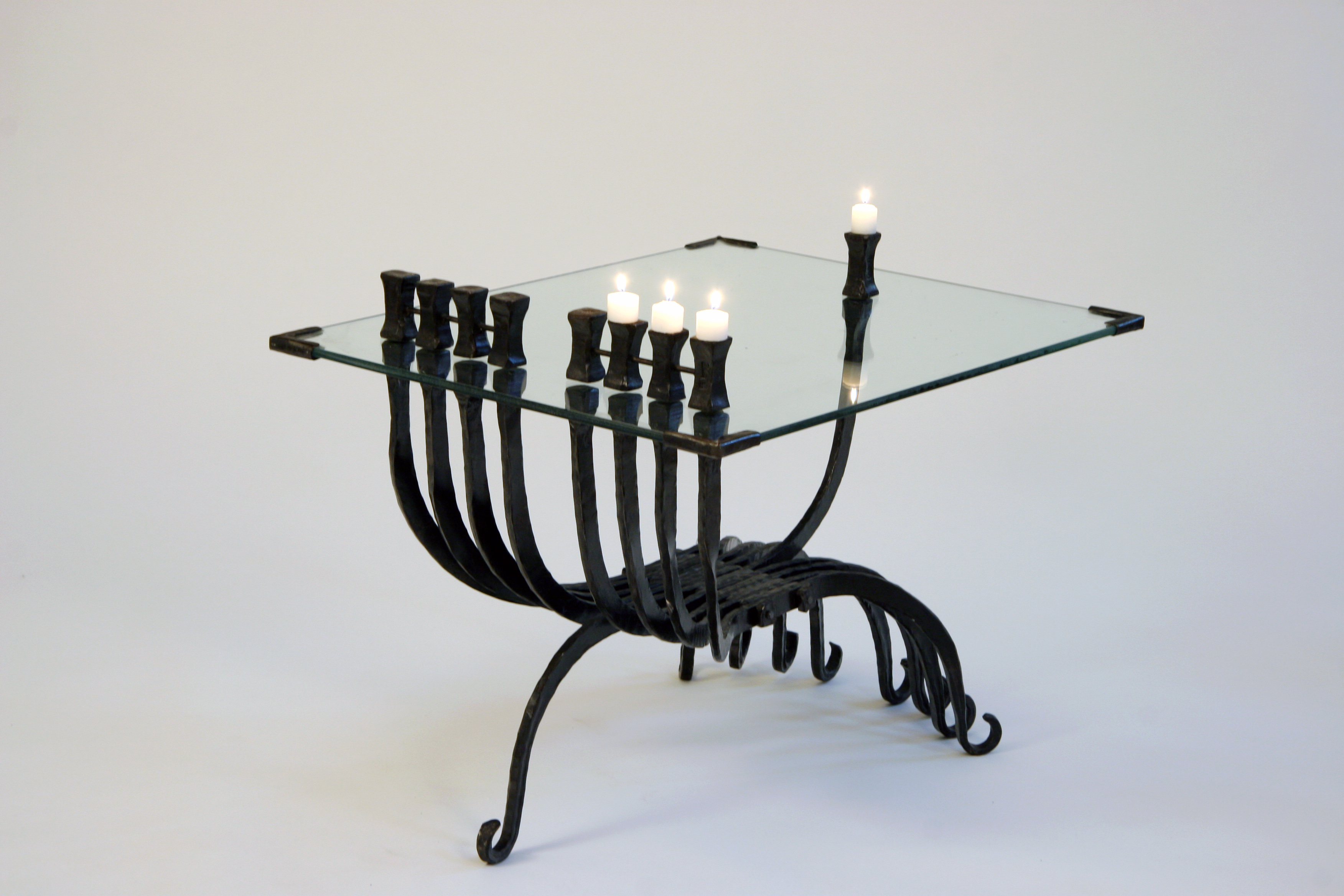 'Hanukkah Table Menorah' – Hanukkah Menorah with Table of Iron & Glass