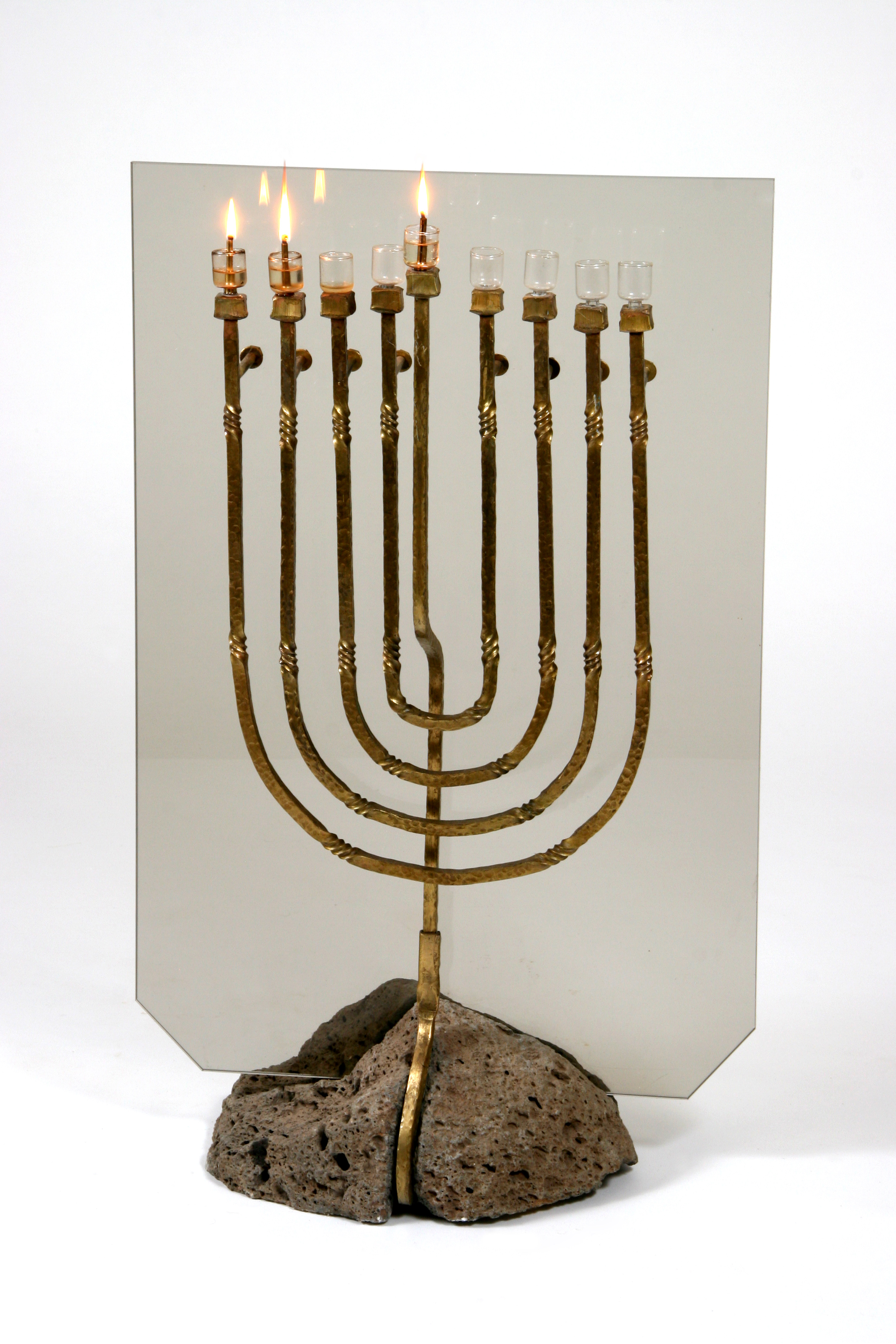 'Royalty' - Elegant Hannukah Menorah of Bronze, Basalt & Golden Glass