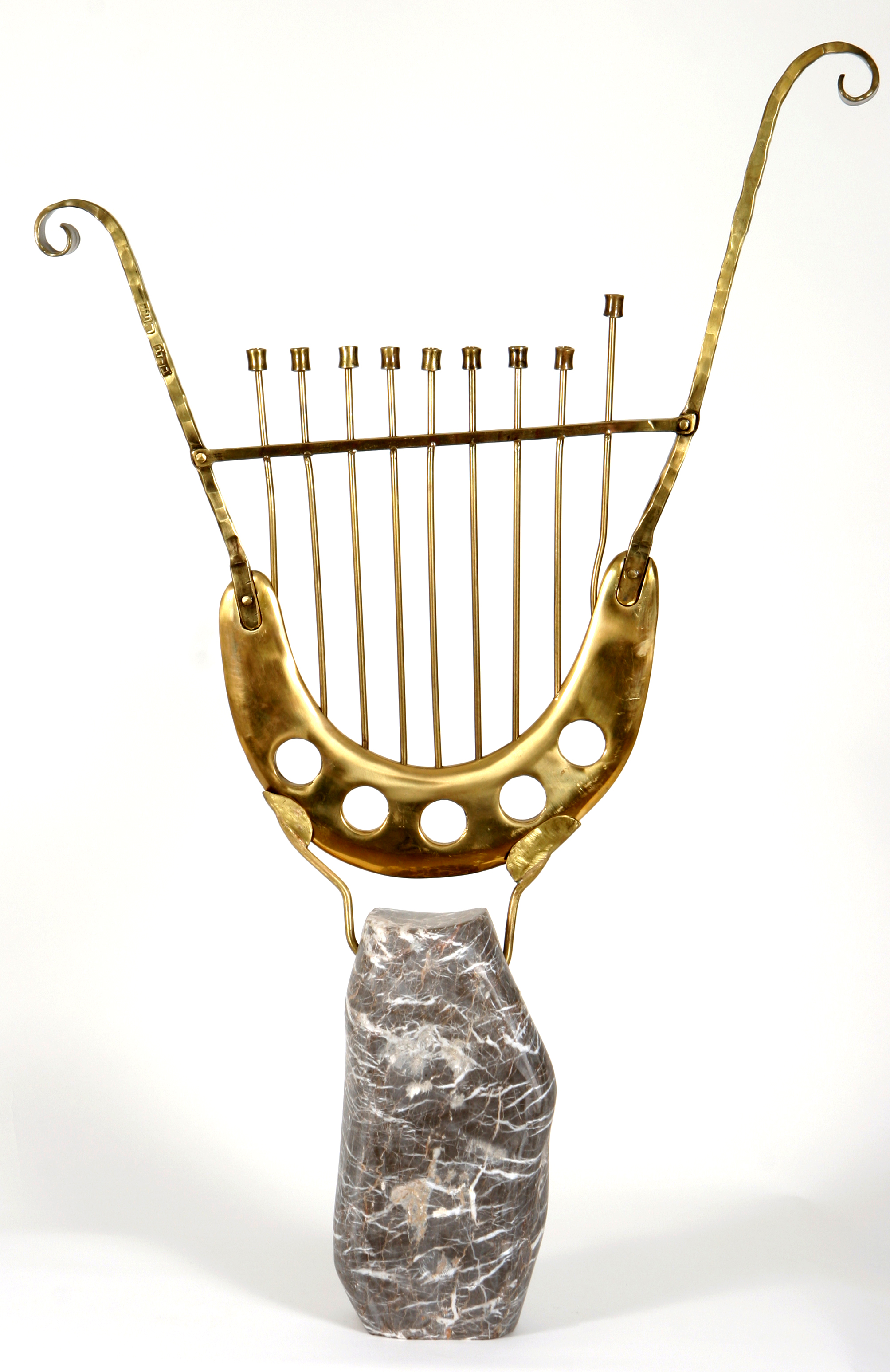 'David's Lyre in Bronze' - Artistic lyre-shaped Hannukah Menorah of Bronze & Marble