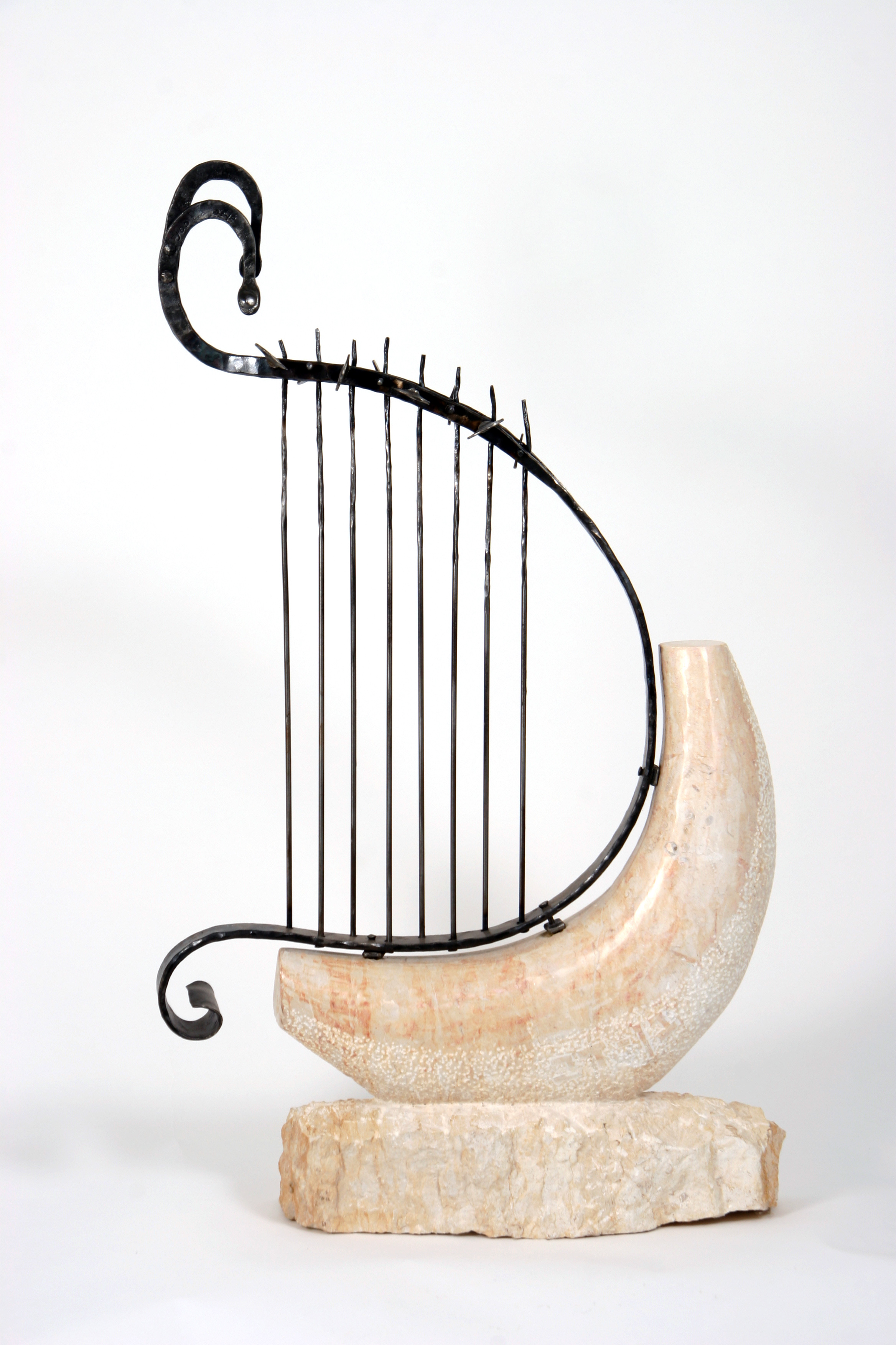 Harp Sculpture of Jerusalem Stone & Iron