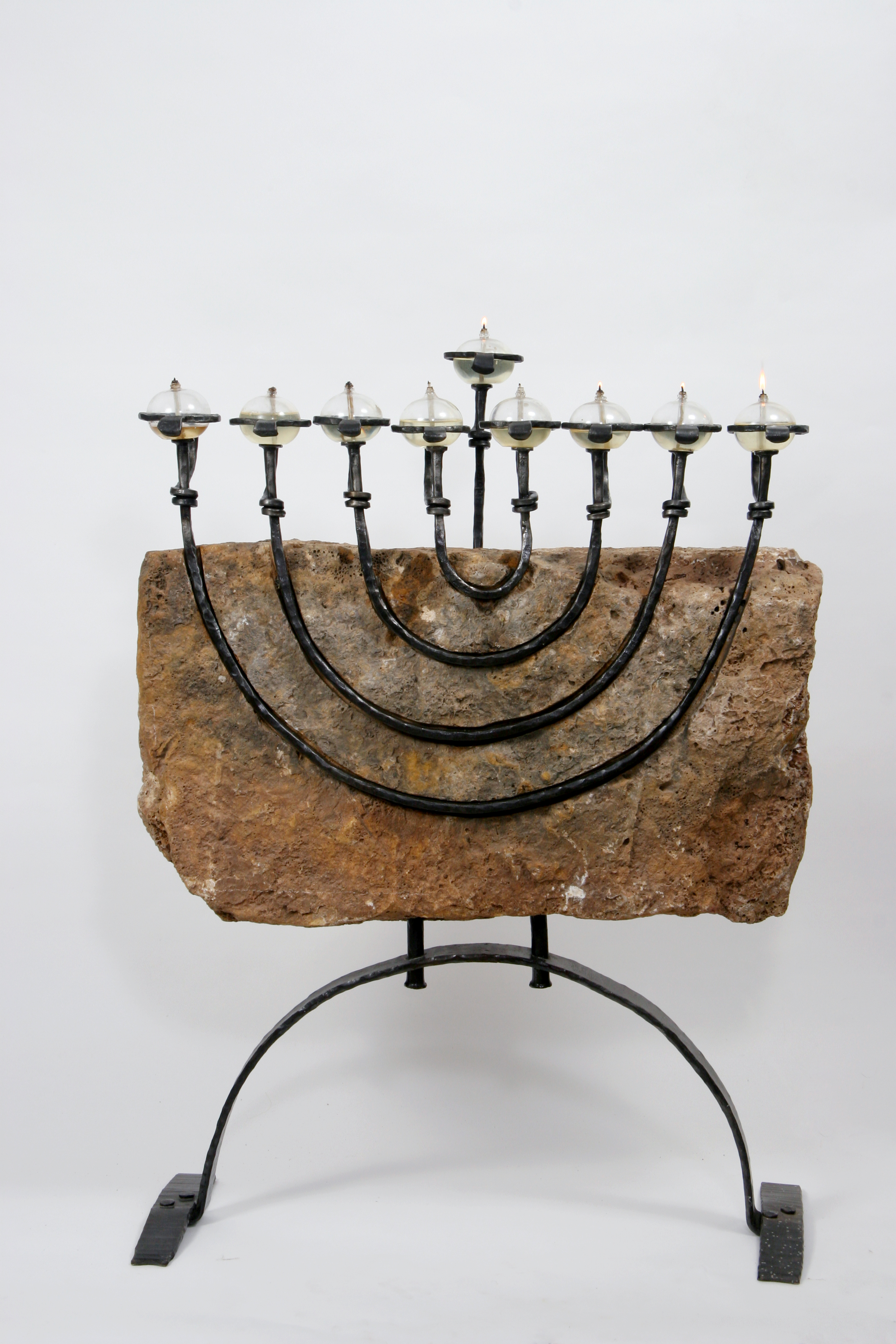 Matityahu - Hanukkah Menorah of Limestone, Iron & Glass