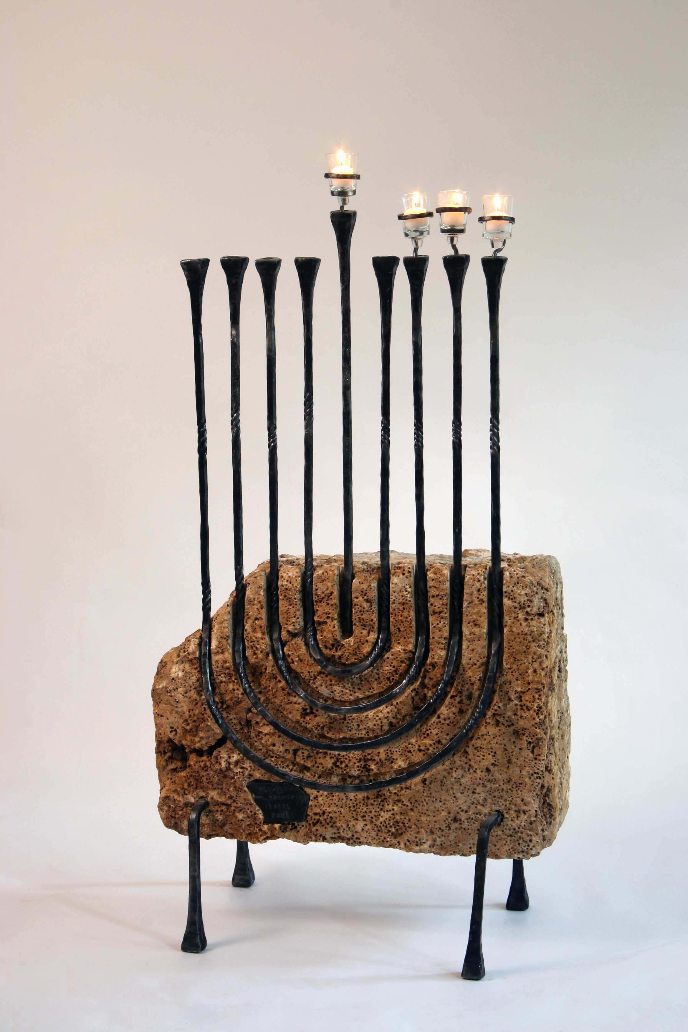 'Maccabee menorah' - Hanukkah menorah of Iron & Jerusalem Stone