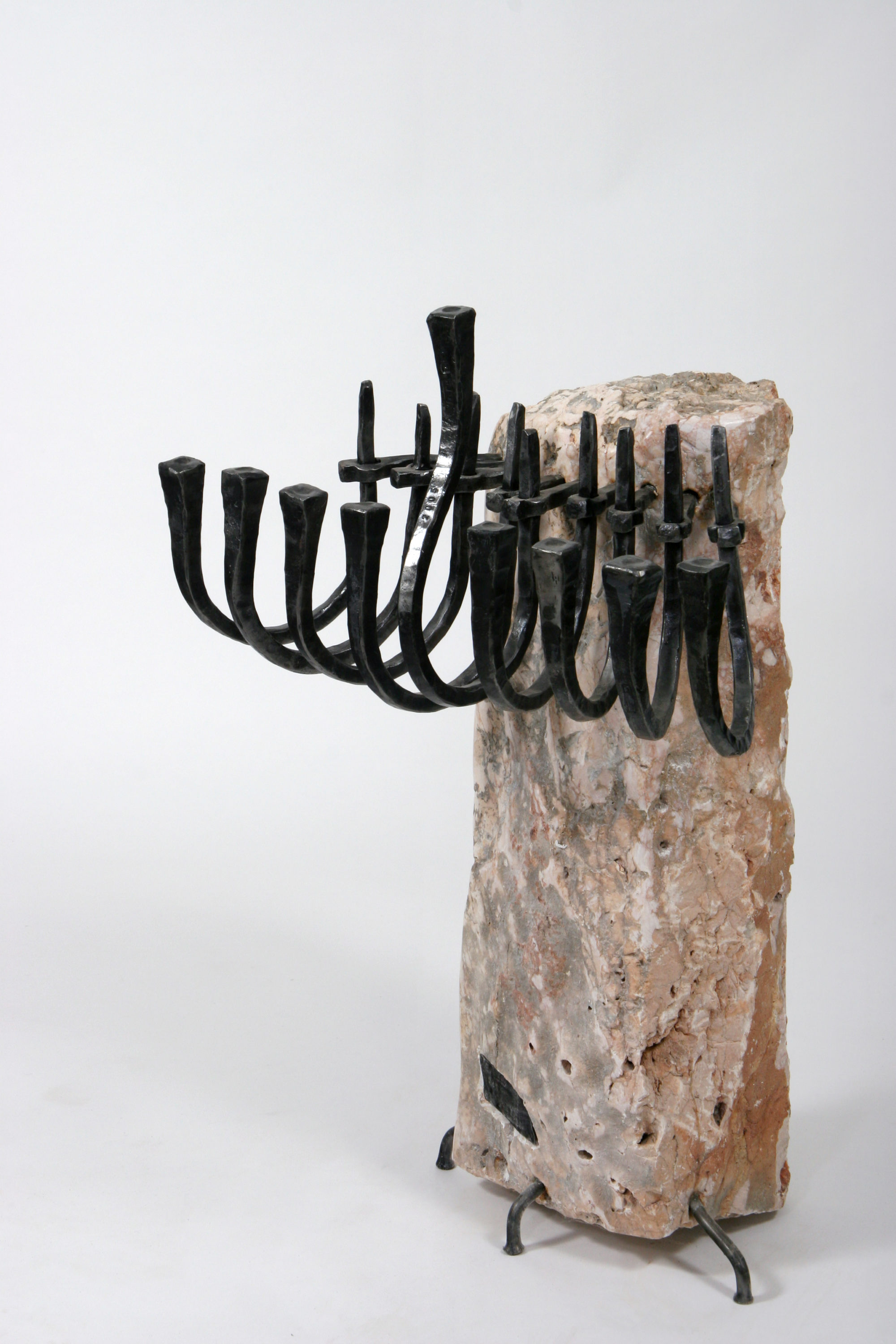 'Ribs' - ribs-shaped Hannukah Menorah of Iron & Jerusalem Stone
