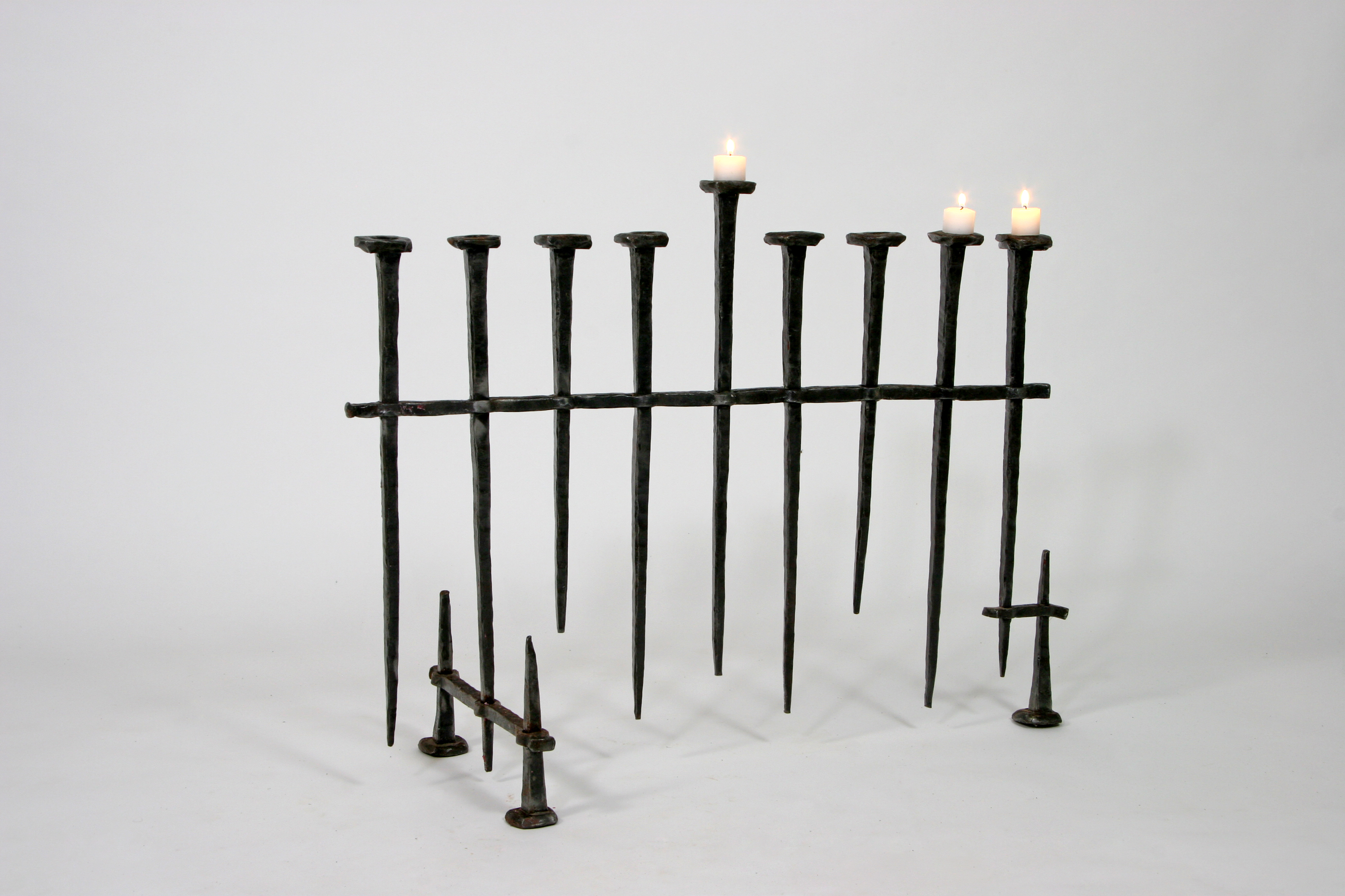 'Stake Hannukah Menorah' – Unique Menorah with Forged Iron Arms