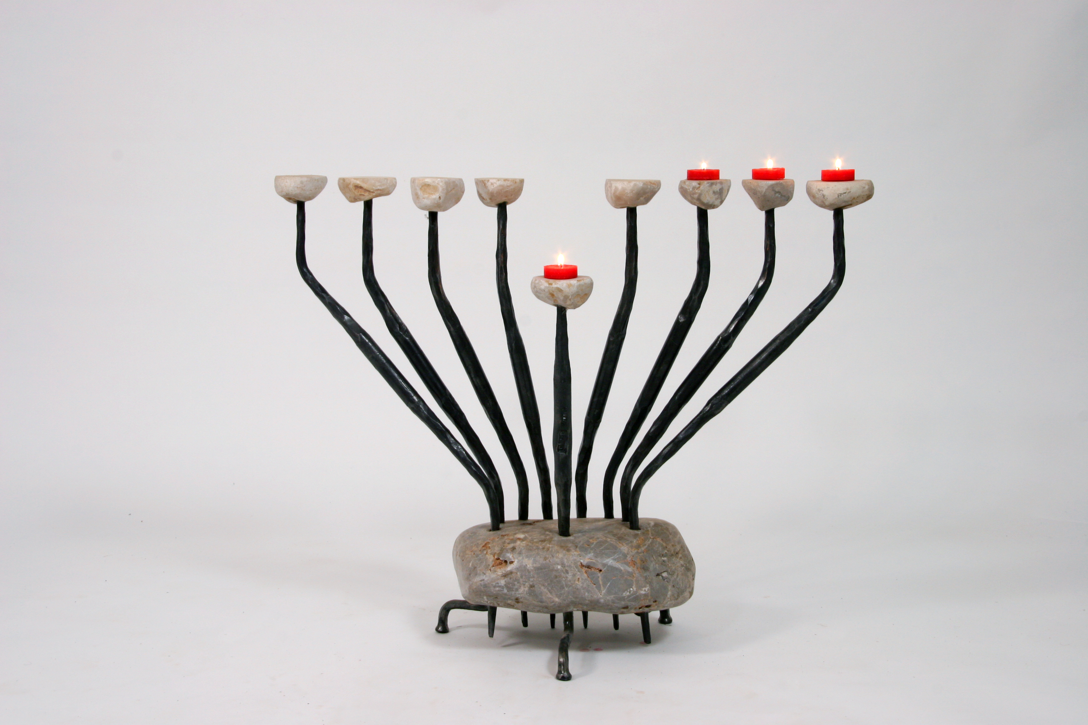 'Pebbles' - Hannukah Menorah of Iron and Stone
