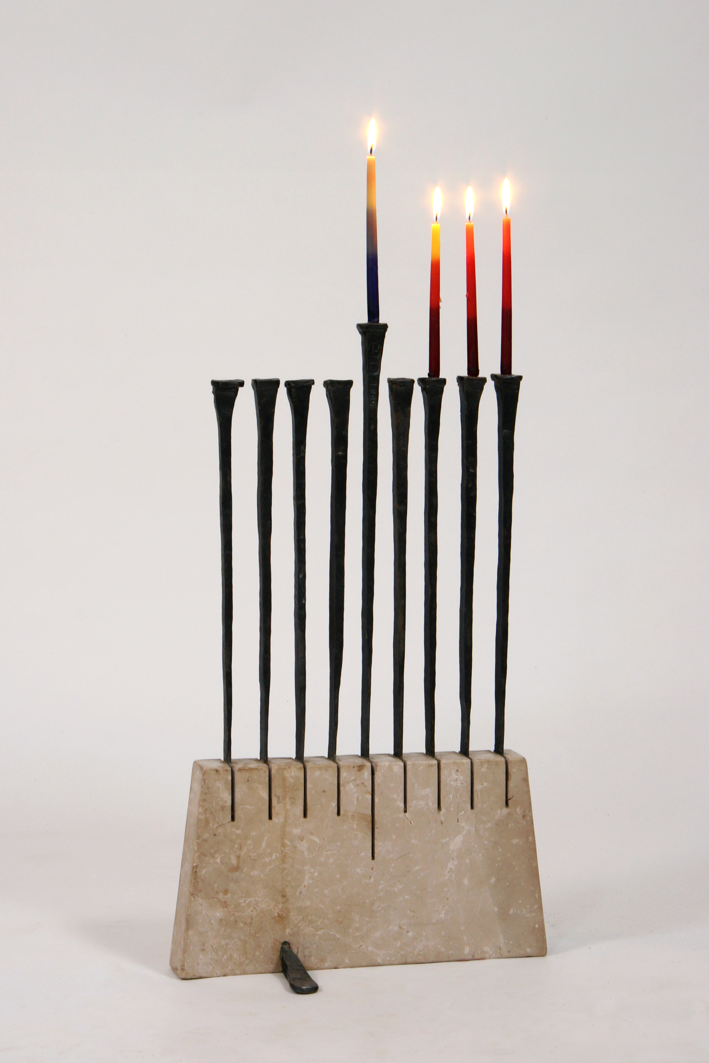 'Swords' - Sword-shaped Hannukah Menorah of Jerusalem Marble & Iron