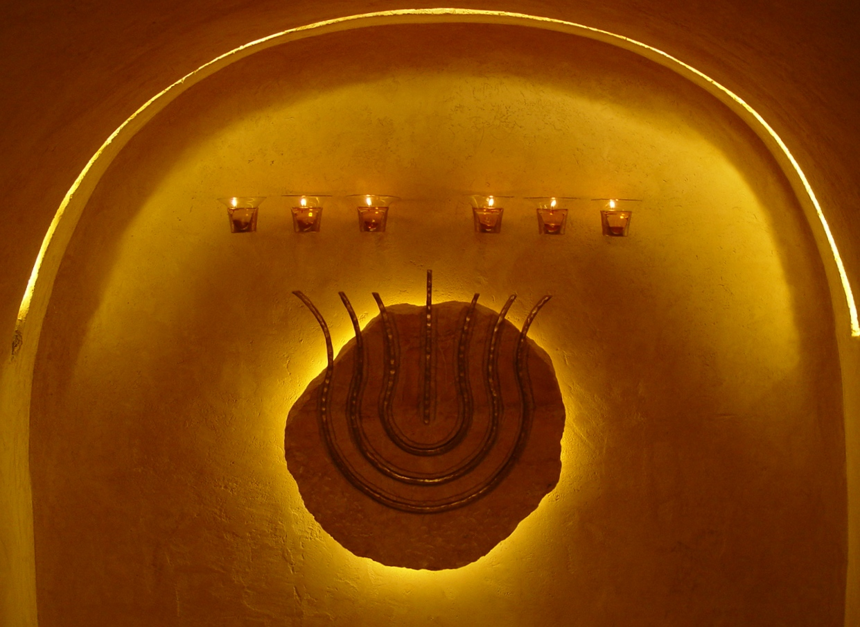 'The Western Wall Tunnel Menorah' - Bronze and Stone Hanucka menorah
