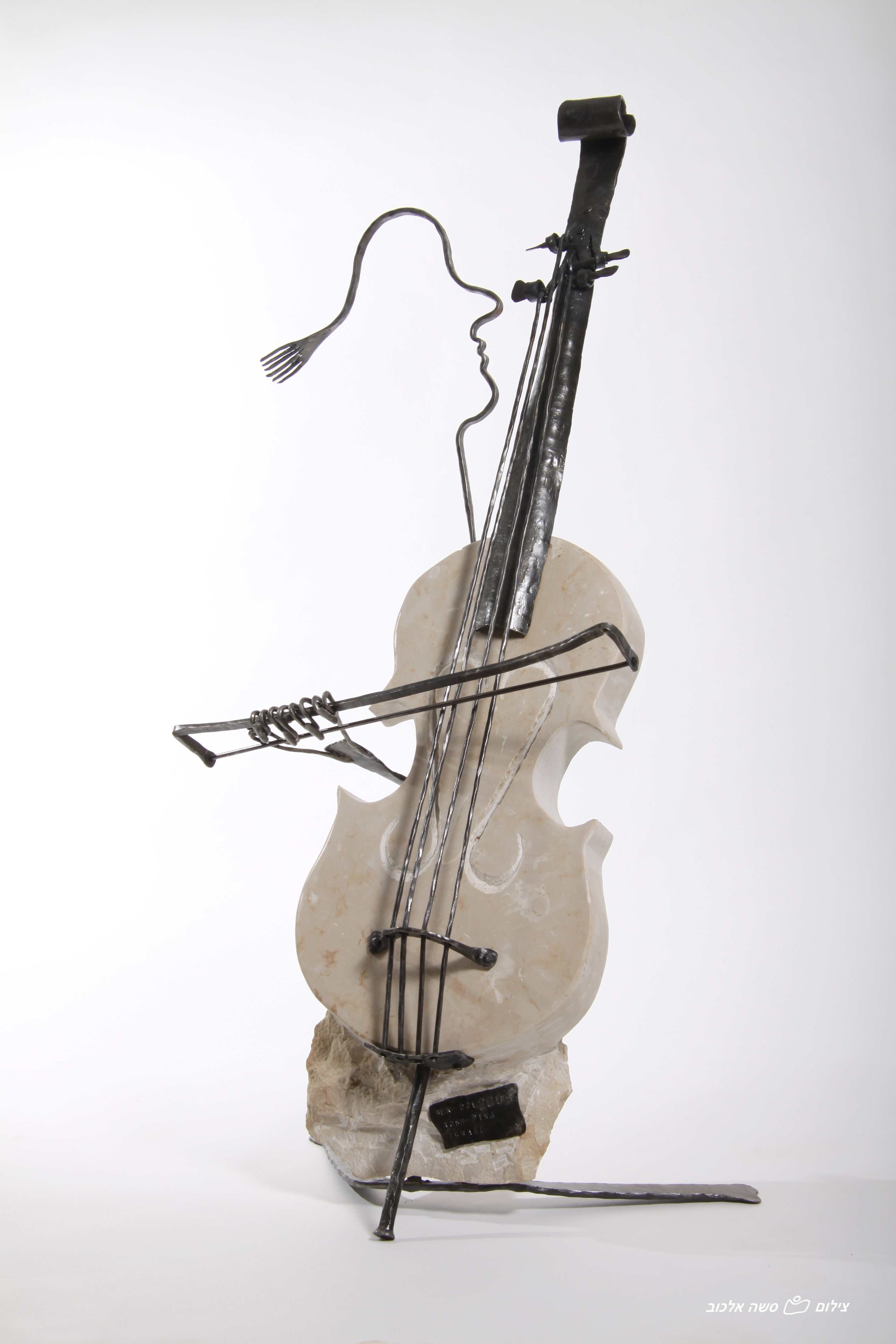 Cello Sculpture of Forged Iron & Jerusalem Stone