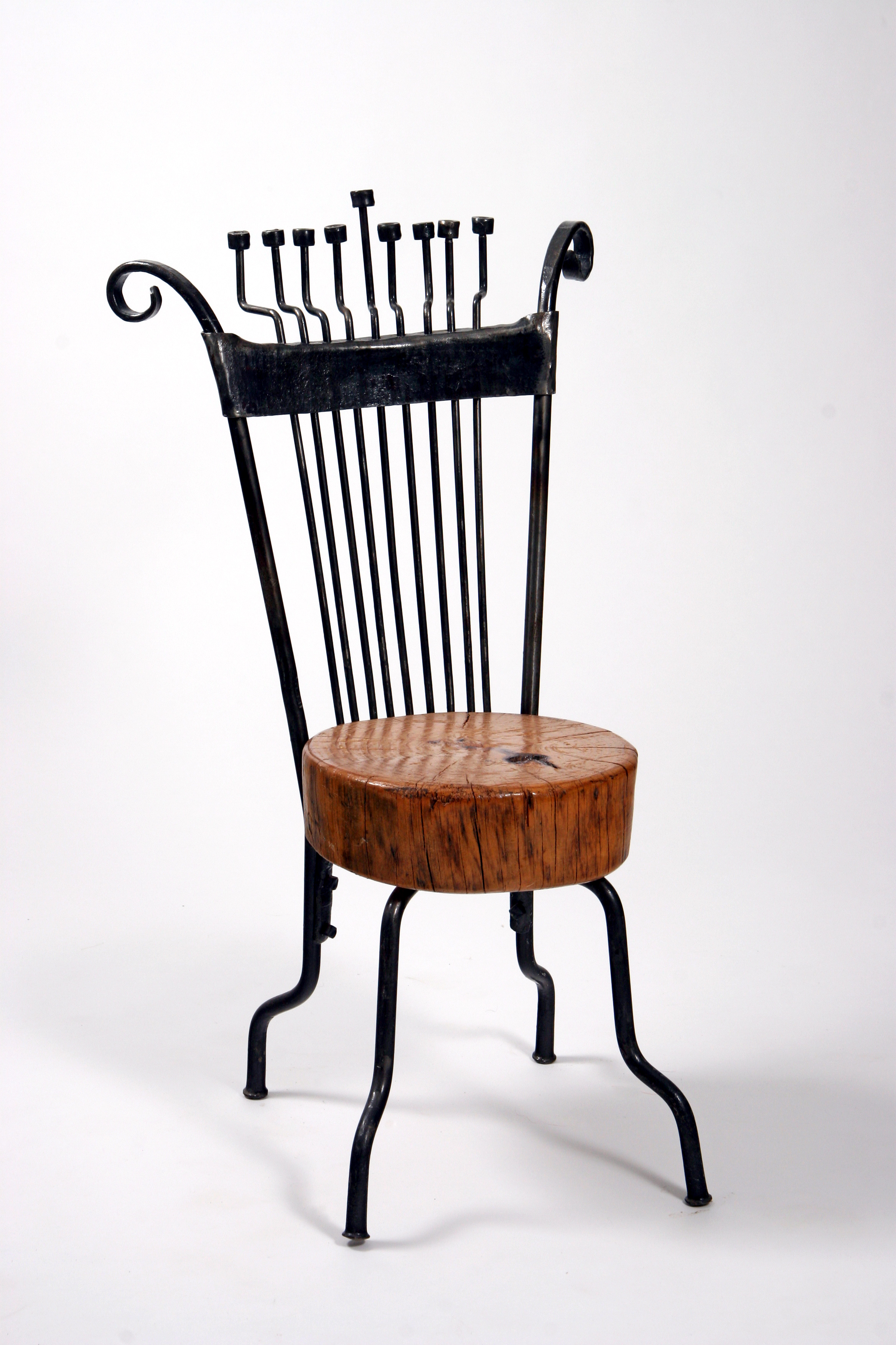 'Hanukkah Chair Menorah' – Chair Menorah with Chair of Iron & Pine