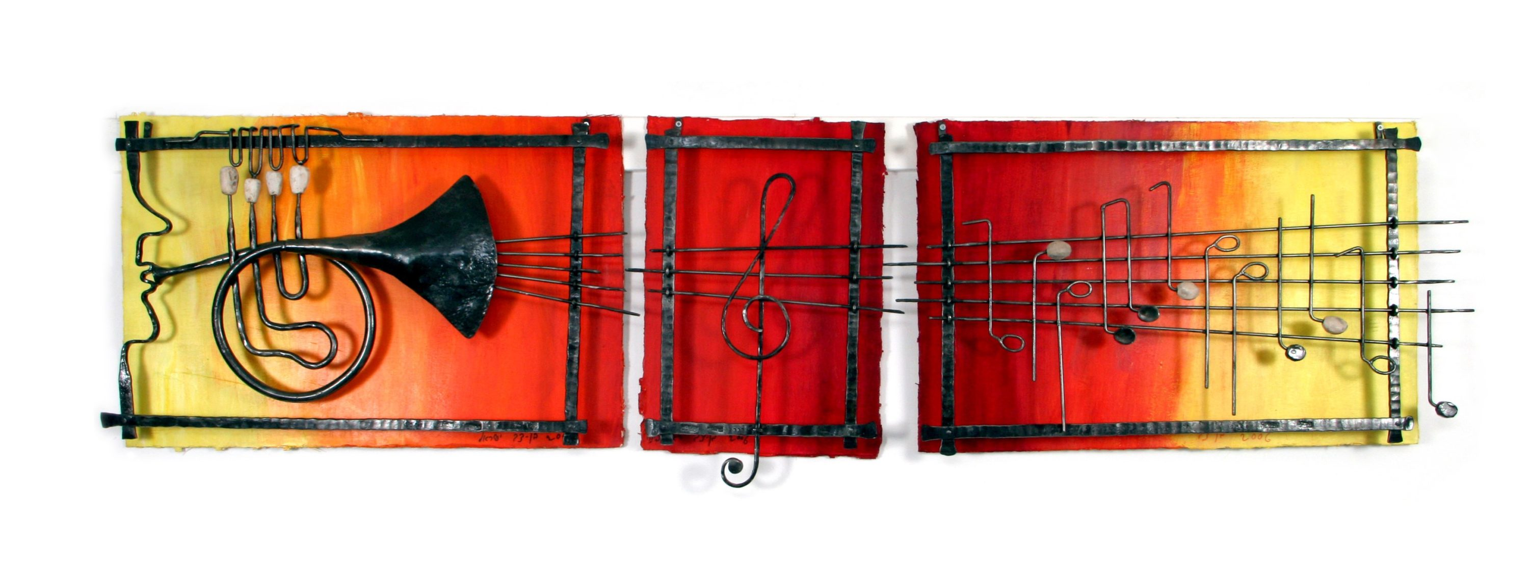 'Music'- Large musical notes sculpted from Iron and River Stones