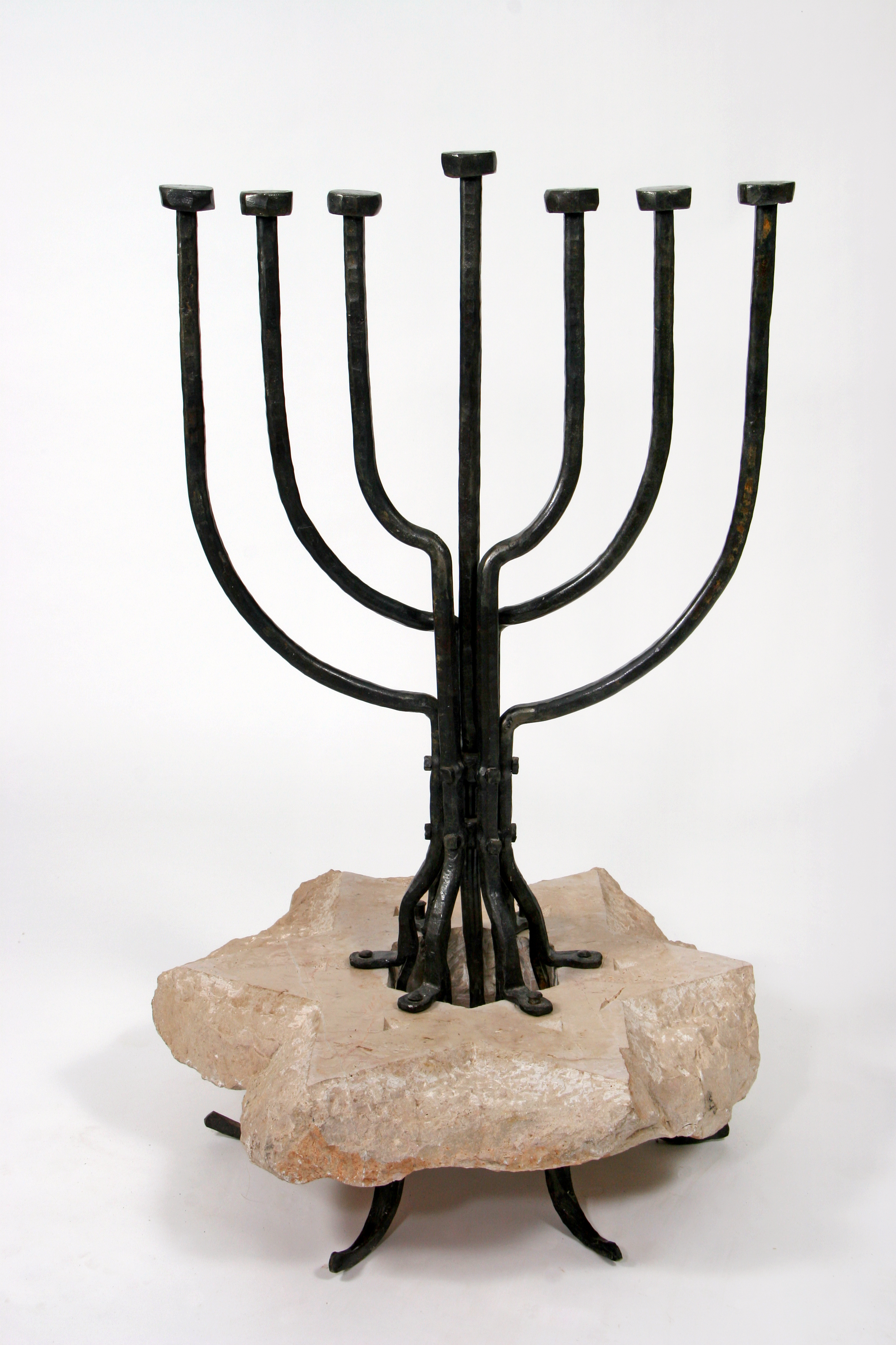 'Menorah in a Star Of David' - Special Menorah of Iron & Stone