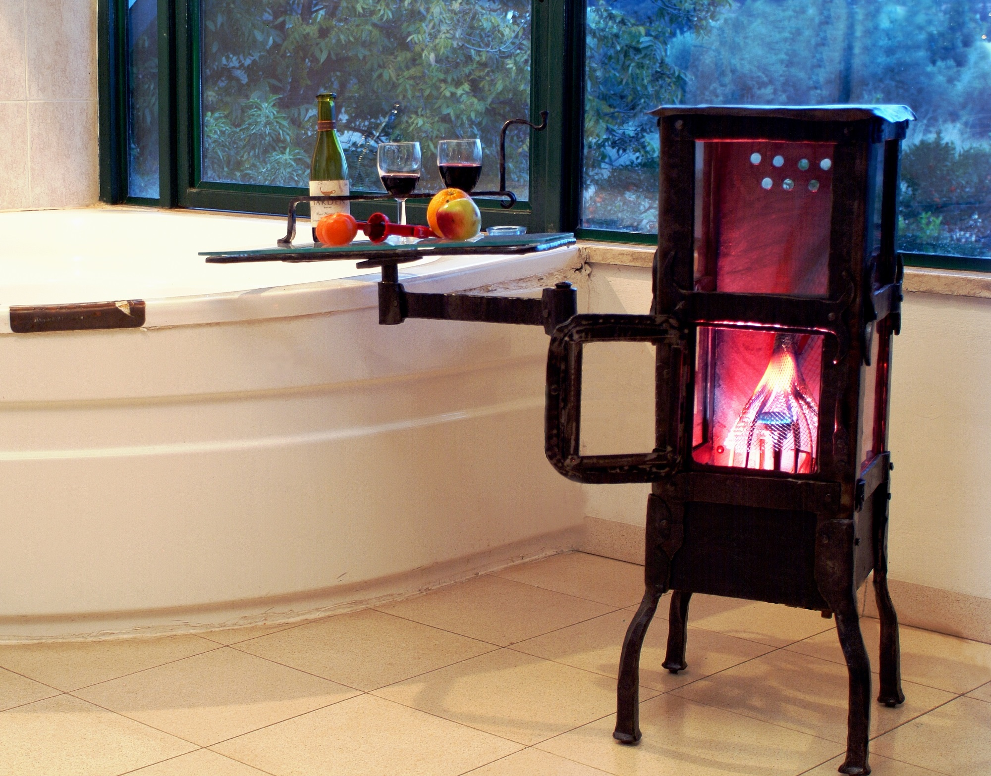 Gas stove of Iron & Glass